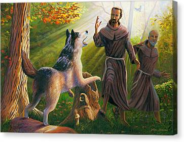 St. Francis Taming The Wolf Canvas Print by Steve Simon