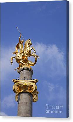 St George And The Dragon Statue In Tbilisi Canvas Print by Robert Preston