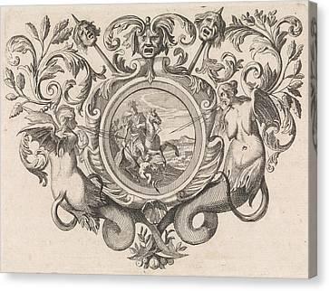 St George Canvas Print - St George On Horseback Piercing A Devil, Print Maker Caspar by Caspar Luyken And Jacob Lindenberg