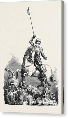 St. George Slaying The Dragon From The Old Palace At Prague Canvas Print