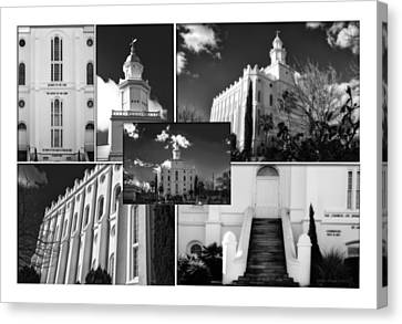 St. George Temple Canvas Print - St George Temple Montage by La Rae  Roberts