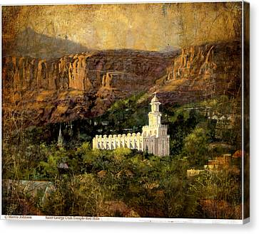 St. George Temple Red Hills Antique Canvas Print