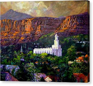 St. George Temple Canvas Print - St. George Temple Red Hills by Marcia Johnson