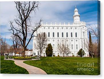 St. George Temple Canvas Print - St. George Temple - Utah by Gary Whitton