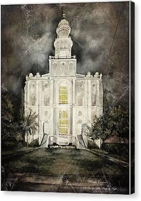 St. George Utah Temple At Night Canvas Print