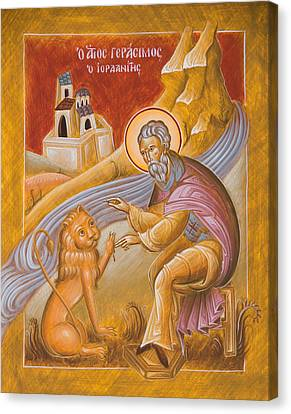 St Gerasimos Of The Jordan Canvas Print by Julia Bridget Hayes