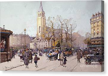 St. Germaine De Pres Canvas Print by Eugene Galien-Laloue