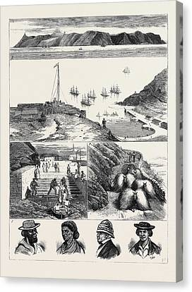 St. Helena 1. View Of The Island From The Sea 2 Canvas Print by English School