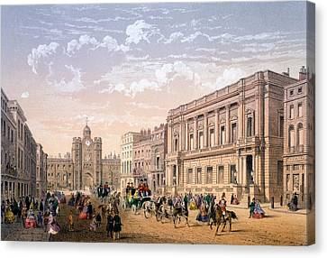 St James Palace And Conservative Club Canvas Print by Achille-Louis Martinet