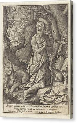 St. Jerome As A Penitent In The Desert, Hieronymus Wierix Canvas Print