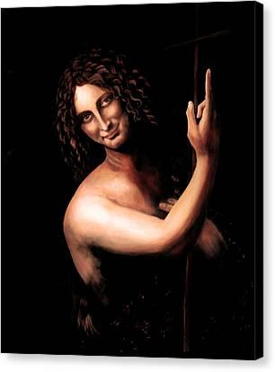 St Jhon The Baptist After Leonardo Da Vinci Canvas Print by Massimo Tizzano