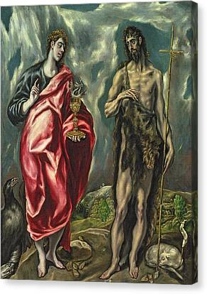St John The Evangelist Canvas Print - St John The Evangelist And St John The Baptist by El Greco Domenico Theotocopuli
