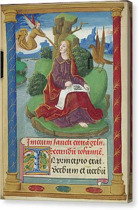 St John The Evangelist Canvas Print - St John Writing His Gospel by British Library