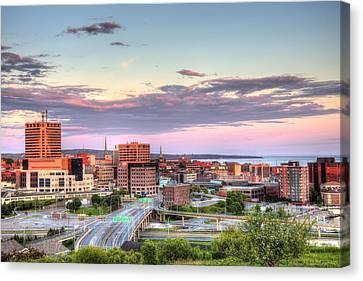 Canvas Print featuring the photograph St. John's New Brunswick Sunset Skyline by Shawn Everhart