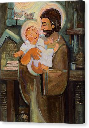 St. Joseph And Baby Jesus Canvas Print by Jen Norton