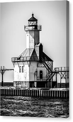 St. Joseph Lighthouse Black And White Picture  Canvas Print by Paul Velgos