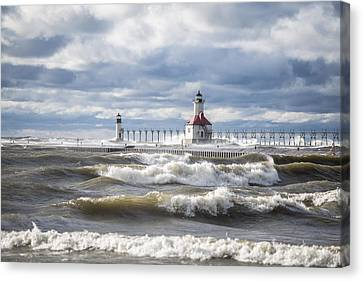 St Joseph Lighthouse On Windy Day Canvas Print by John McGraw