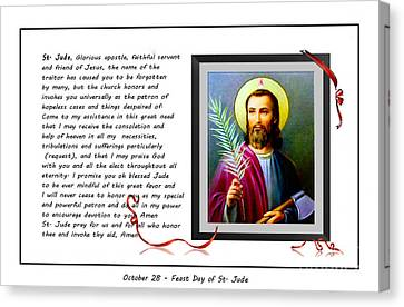 St. Jude Patron Of Hopeless Cases - Prayer - Petition Canvas Print by Barbara Griffin