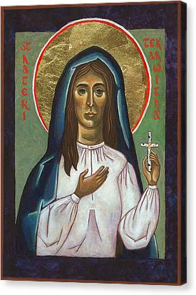 St Kateri Tekakwitha Canvas Print by Jennifer Richard-Morrow