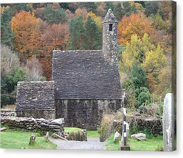 Canvas Print featuring the photograph St Kevin's Glendalough Ireland by Alan Lakin