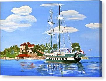 Canvas Print featuring the painting St Lawrence Waterway 1000 Islands by Phyllis Kaltenbach