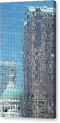 St. Louis Bldg Reflections Canvas Print by Cindy Croal