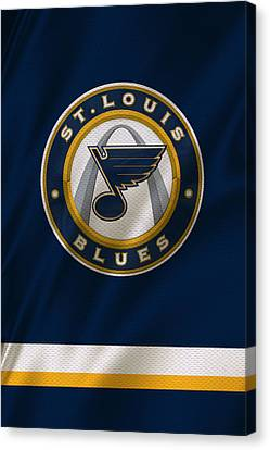 Hockey Canvas Print - St Louis Blues Uniform by Joe Hamilton