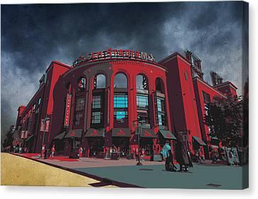 St. Louis Busch Stadium Cardinals 9162 Art Canvas Print by David Haskett