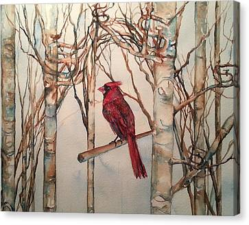 Canvas Print featuring the painting St Louis Cardinal Redbird by Christy  Freeman