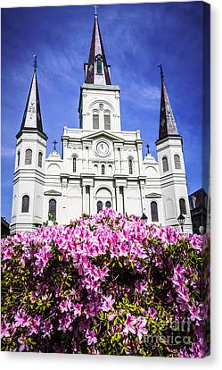 St.louis Cathedral Canvas Print - St. Louis Cathedral And Flowers In New Orleans by Paul Velgos