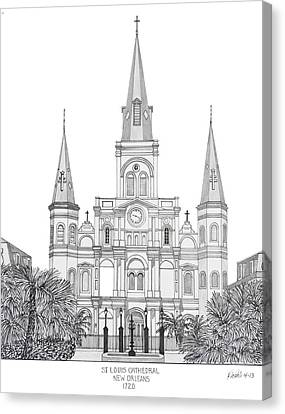 St Louis Cathedral Canvas Print by Frederic Kohli