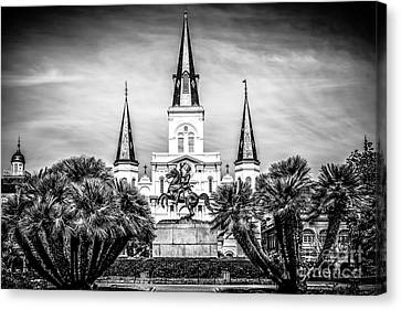 St. Louis Cathedral In New Orleans Black And White Picture Canvas Print by Paul Velgos