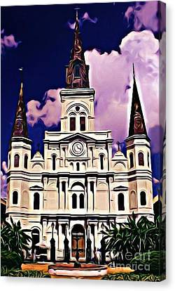 St Louis Cathedral In New Orleans Canvas Print by John Malone