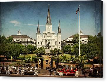 St Louis Cathedral Jackson Square Nola Dsc04790 Canvas Print by Greg Kluempers