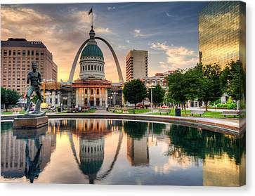 St. Louis Skyline Morning Reflections Canvas Print