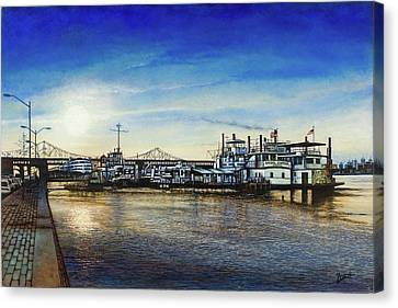Canvas Print featuring the painting St. Louis Riverfront by Michael Frank