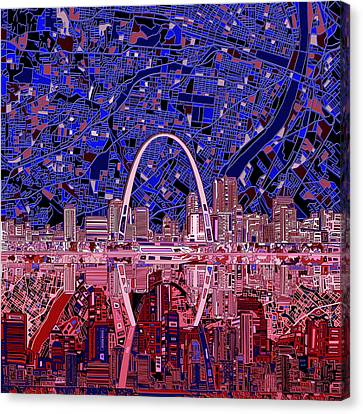 Abstract Digital Canvas Print - St Louis Skyline Abstract 6 by Bekim Art