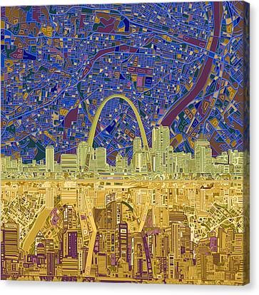 St Louis Skyline Abstract 9 Canvas Print by Bekim Art