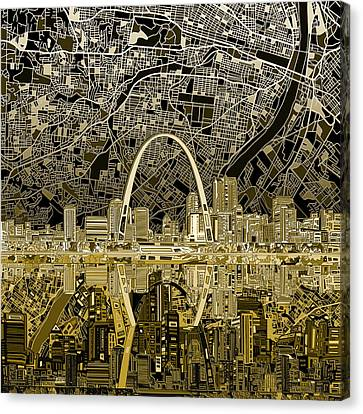 St Louis Skyline Abstract Canvas Print by Bekim Art