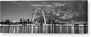 Canvas Print featuring the photograph St. Louis Skyline At Dusk Gateway Arch Black And White Bw Panorama Missouri by Jon Holiday