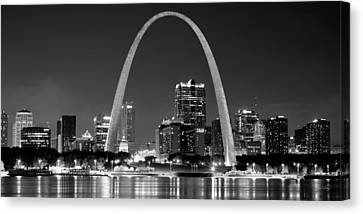 Canvas Print featuring the photograph St. Louis Skyline At Night Gateway Arch Black And White Bw Panorama Missouri by Jon Holiday