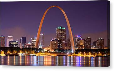 Canvas Print featuring the photograph St. Louis Skyline At Night Gateway Arch Color Panorama Missouri by Jon Holiday