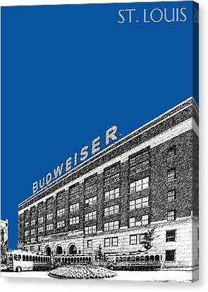 St Louis Skyline Budweiser Brewery - Royal Blue Canvas Print by DB Artist