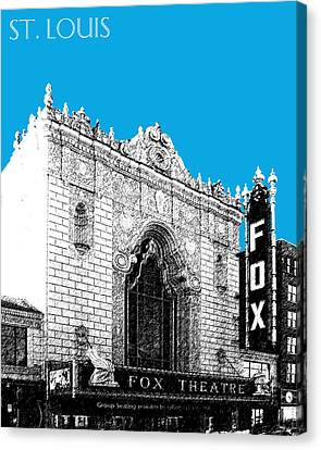 St Louis Skyline Fox Theater - Ice Blue Canvas Print by DB Artist