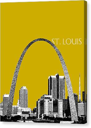St Louis Skyline Gateway Arch - Gold Canvas Print