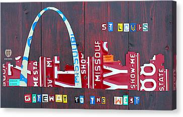 St. Louis Skyline License Plate Art Canvas Print