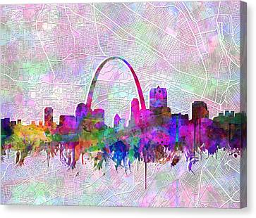 Abstract Digital Canvas Print - St Louis Skyline Watercolor 6 by Bekim Art