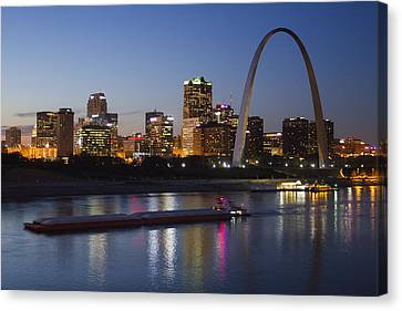 St Louis Skyline With Barges Canvas Print by Garry McMichael