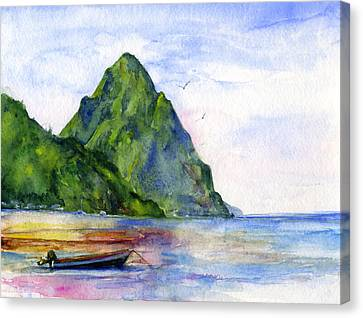 Watercolor Canvas Print - St. Lucia by John D Benson