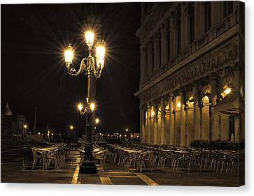 Canvas Print featuring the photograph St Mark's Square At Night by Marion Galt